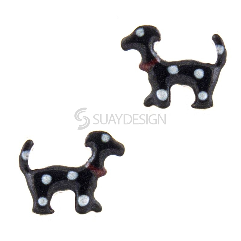 Women's Black with White Spots Silver Dog Earrings