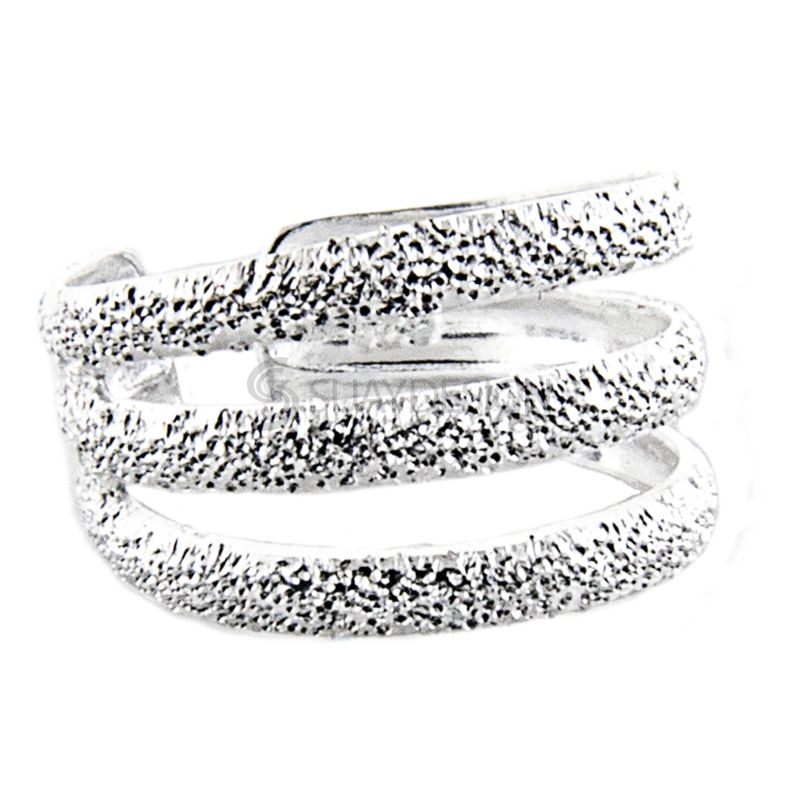 Women's Triple Diamond Cut Finish Silver Toe Ring