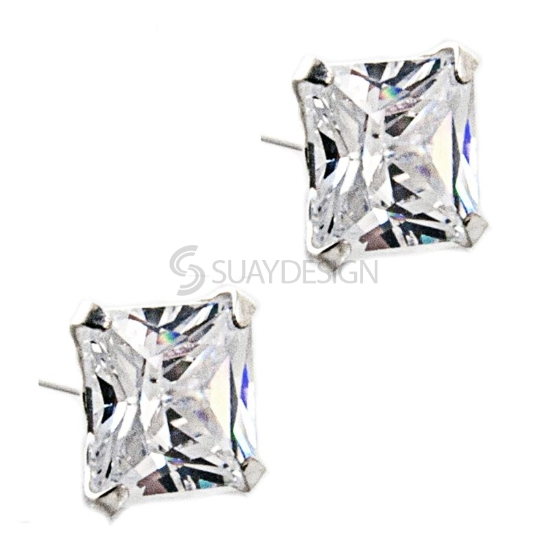Princess Cut 6mm Cubic Zirconia Crystal Silver Earrings