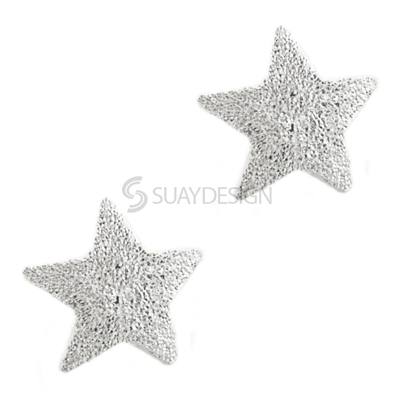 Diamond Cut Finish Silver Star Earrings