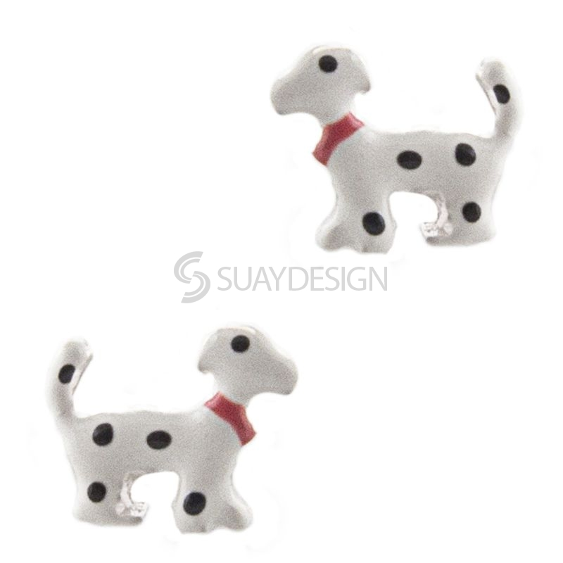 White with Black Spots Silver Dog Earrings
