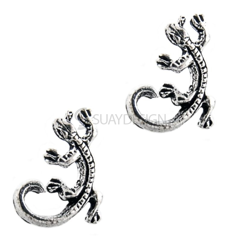 Detailed Silver Gecko Earrings