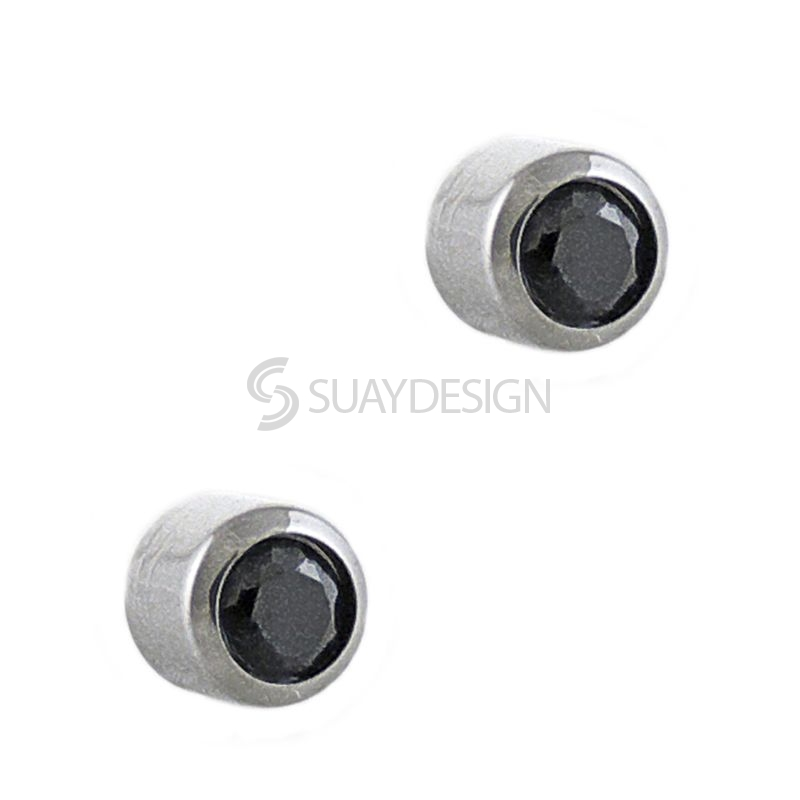 Women's Small Black Cubic Zirconia Crystal Steel Stud Earrings