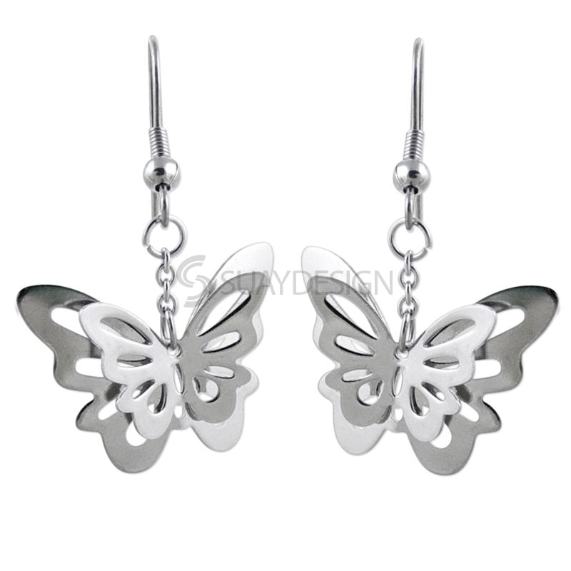 Women's Steel Butterfly Earrings
