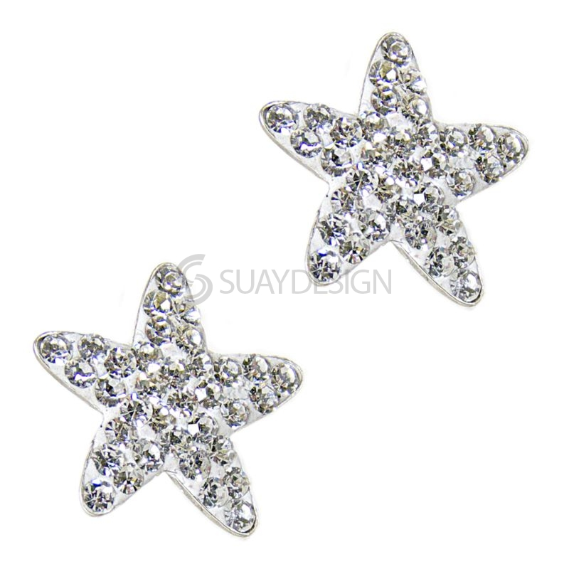 Cubic Zirconia Crystal Silver Star Earrings
