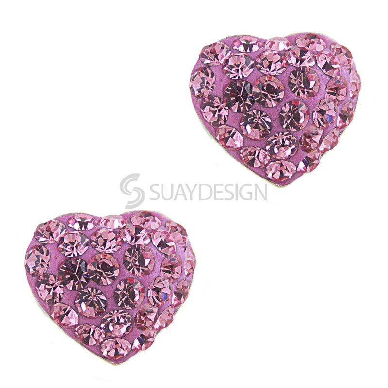 Pink Cubic Zirconia Crystal Heart Earrings
