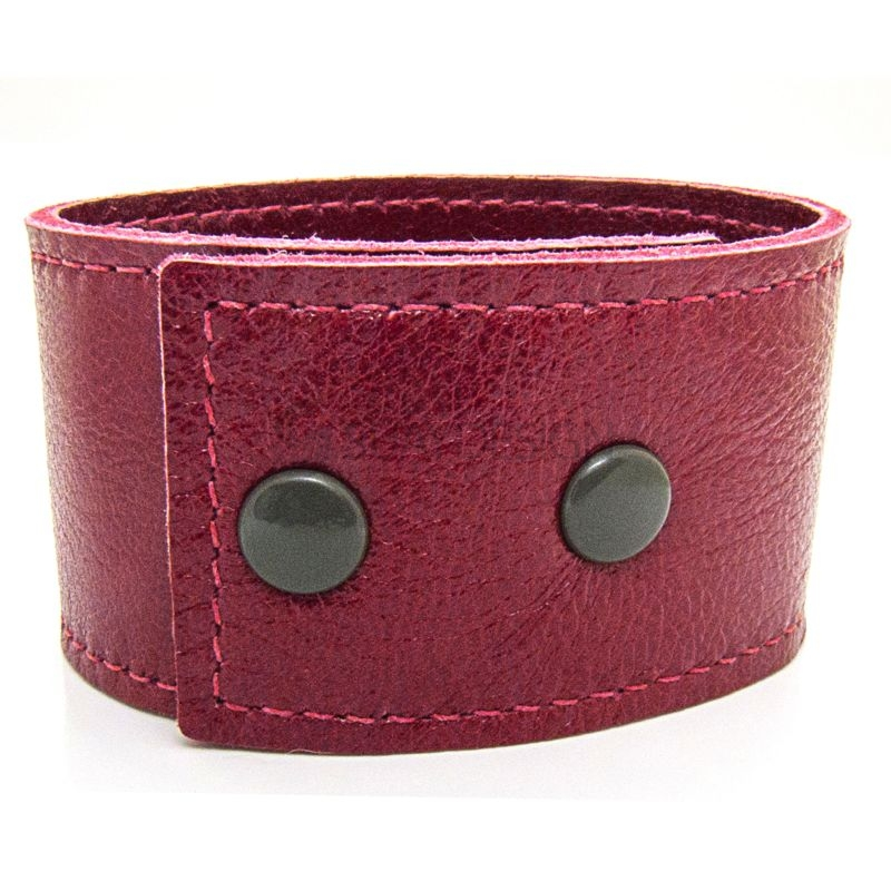Women's Soft Red Leather Bracelet with Press Stud Fastening