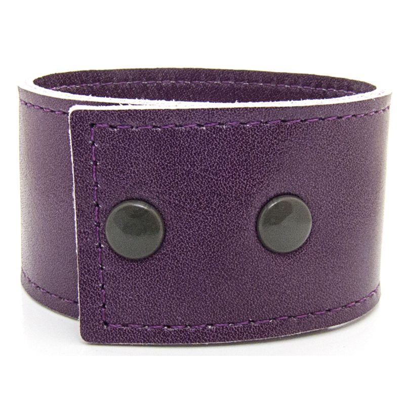 Women's Soft Purple Leather Bracelet with Press Stud Fastening