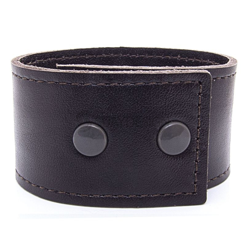 Women's Soft Brown Leather Bracelet with Press Stud Fastening