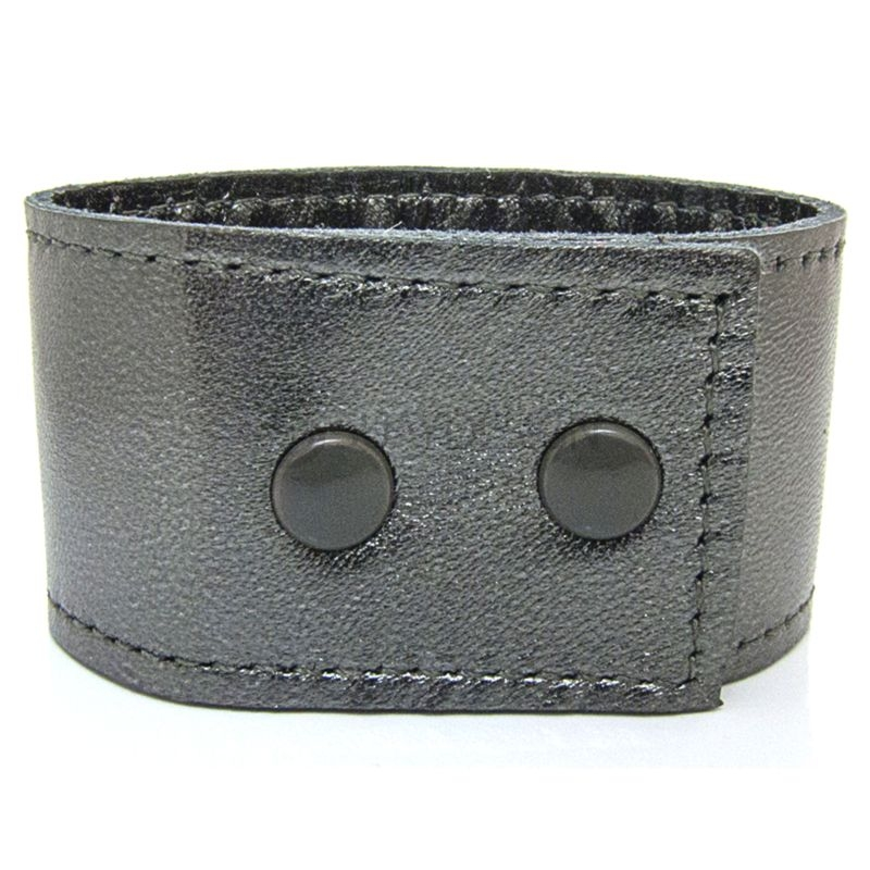 Women's Soft Metallic Silver Leather Bracelet with Press Stud Fastening