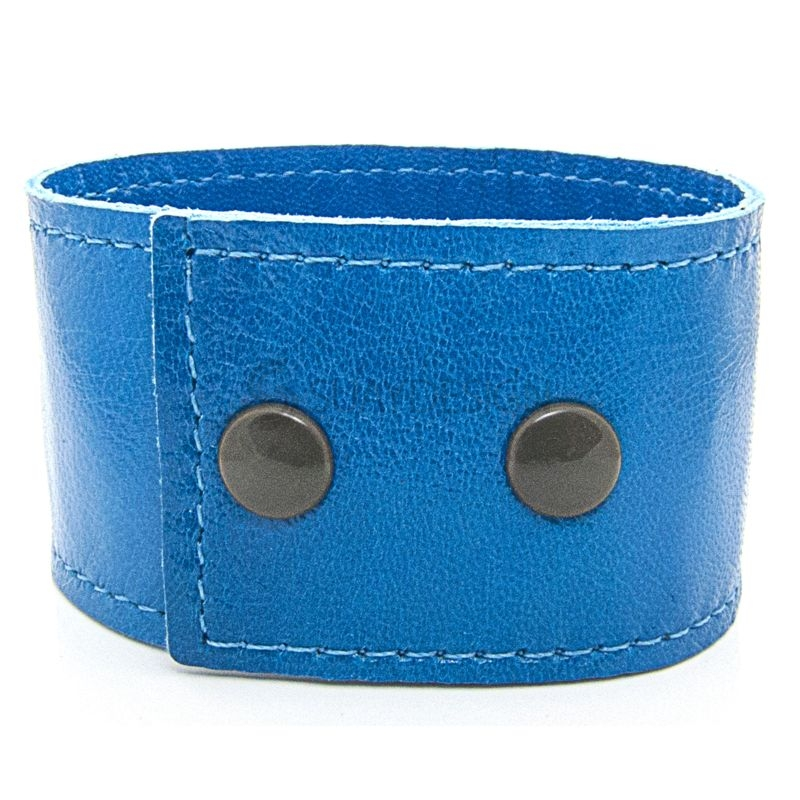 Women's Soft Blue Leather Bracelet with Press Stud Fastening