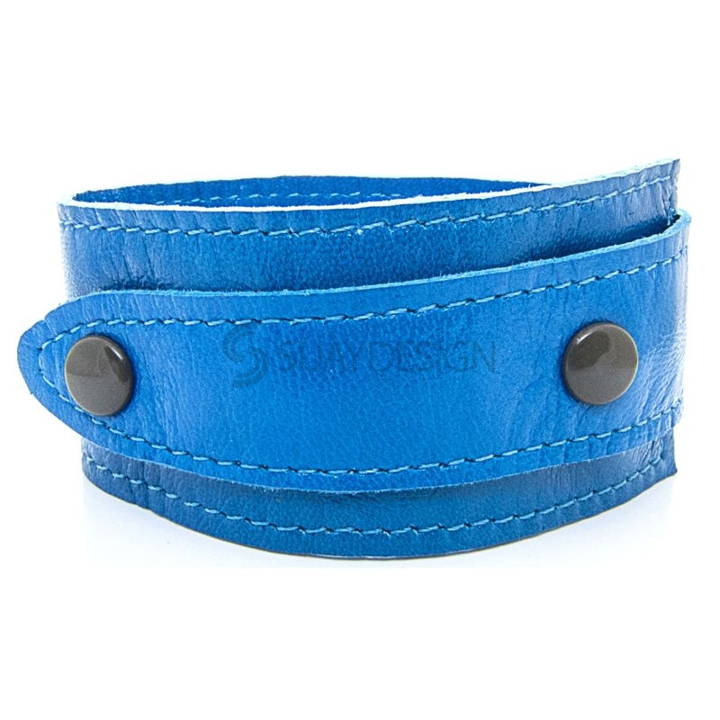Asymmetric Soft Blue Leather Bracelet