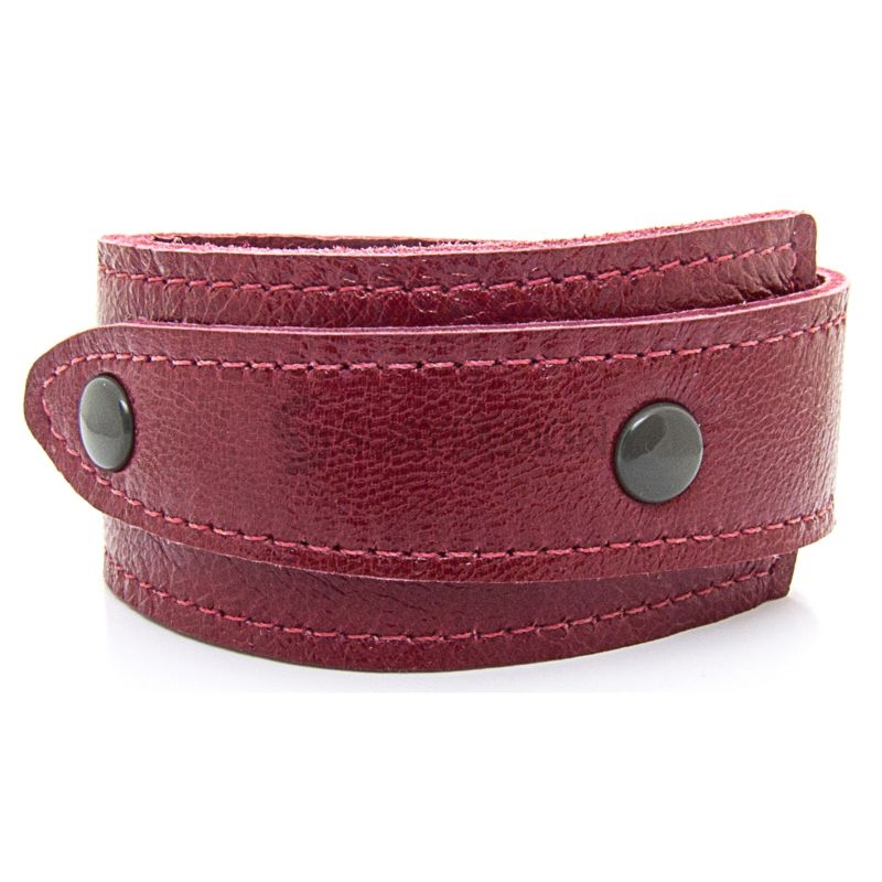 Asymmetric Soft Red Leather Bracelet