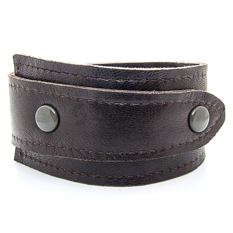 Asymmetric Soft Brown Leather Bracelet