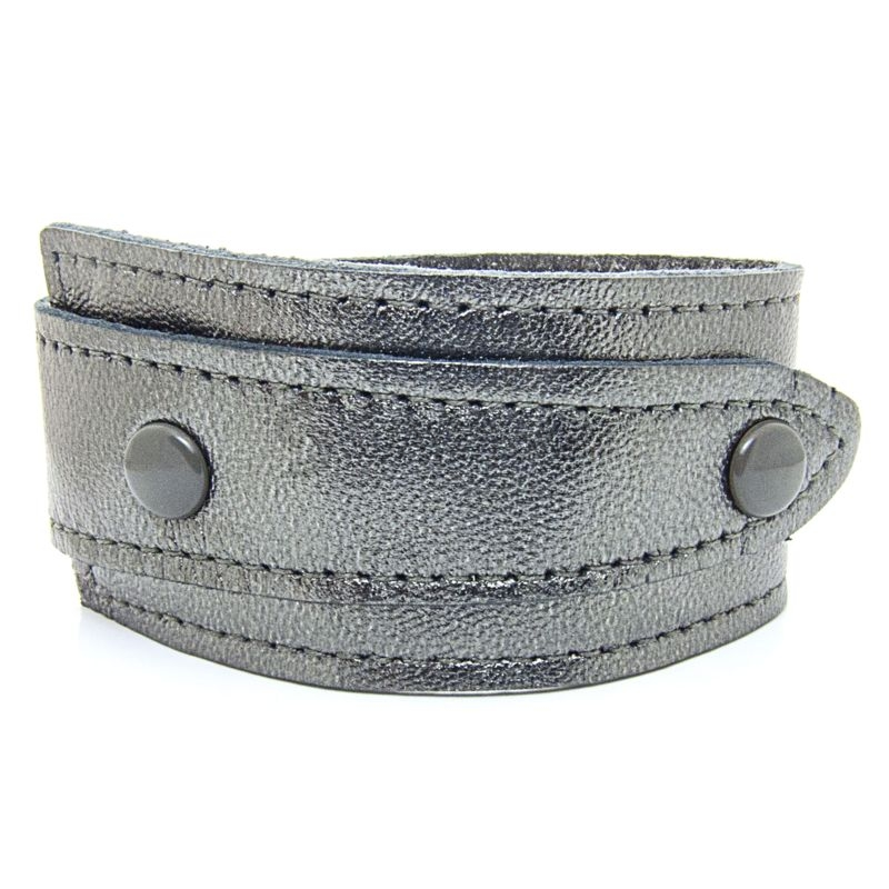 Asymmetric Soft Metallic Silver Leather Bracelet