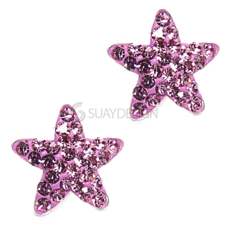 Pink Cubic Zirconia Crystal Star Earrings