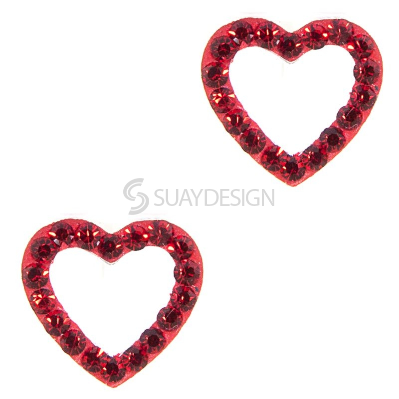 Women's Red Cubic Zirconia Crystal Loveheart Earrings