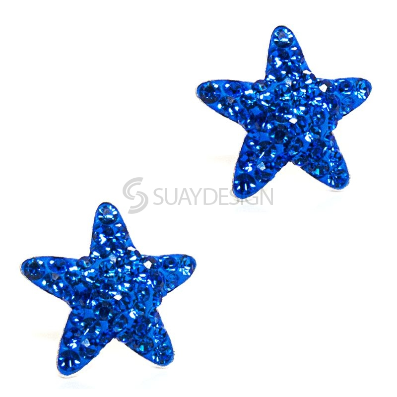 Blue Cubic Zirconia Crystal Star Earrings