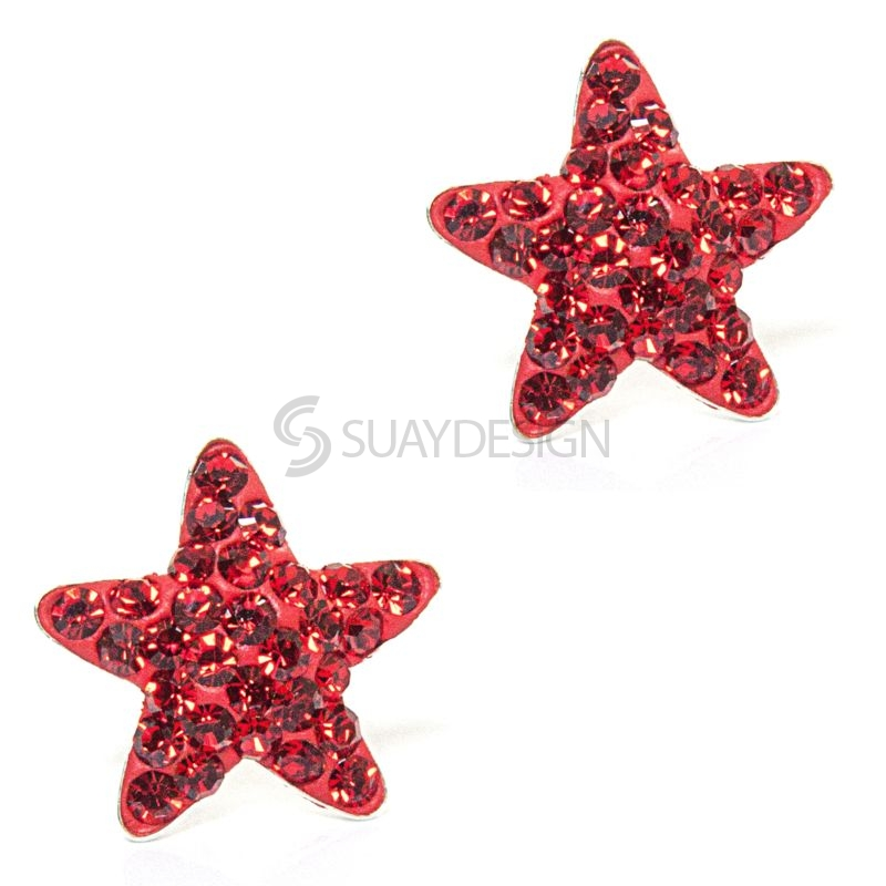 Red Cubic Zirconia Crystal Star Earrings