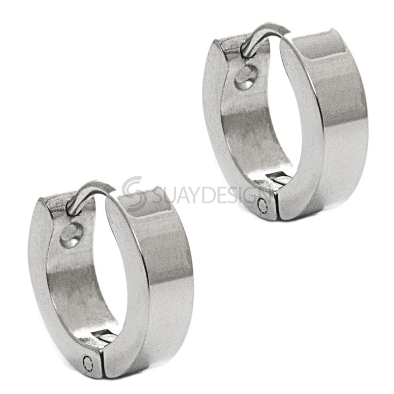 Women's High Polished Steel Huggie Earrings