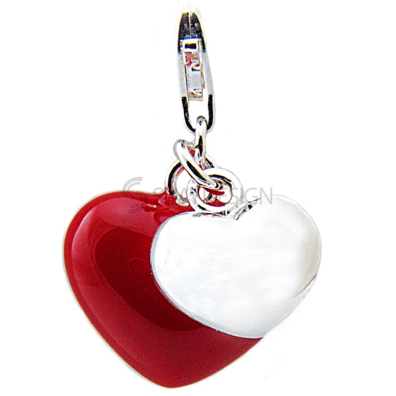 Women's Silver & Red Enamel Two Heart Clip on Charm