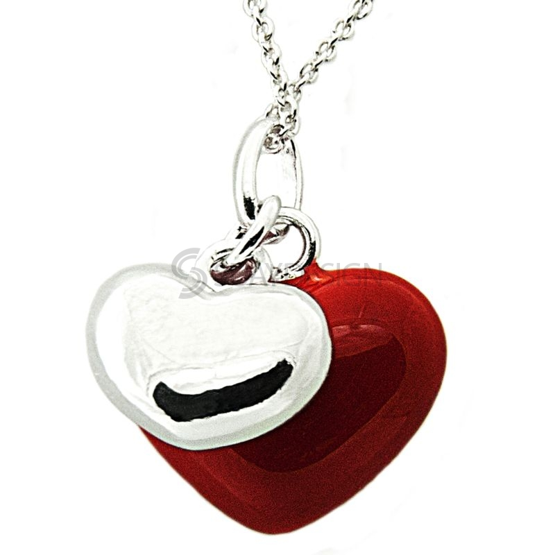 Women's Silver & Red Enamel Two Heart Pendant