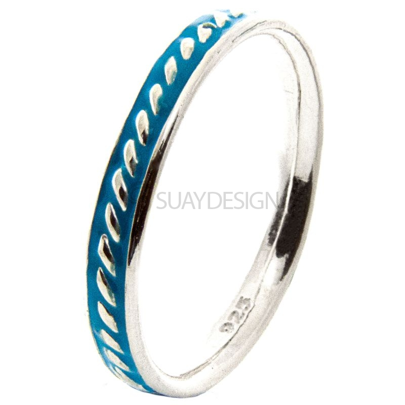 Women's Silver Stacking Ring with Blue Enamel