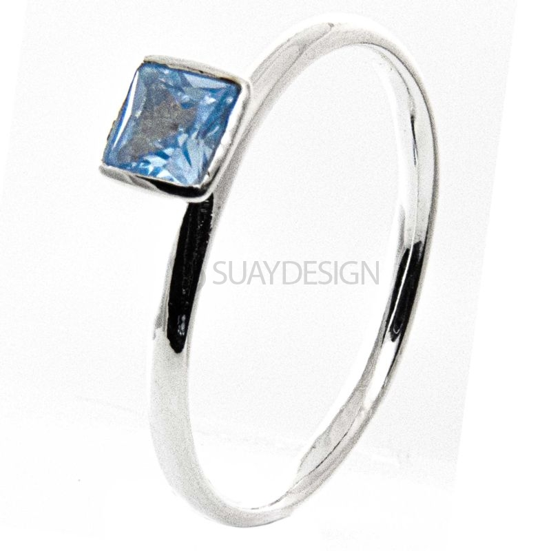 Women's Silver Stacking Ring with Aquamarine