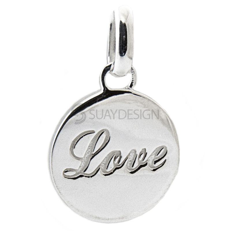 Women's Silver Disc Love Necklace
