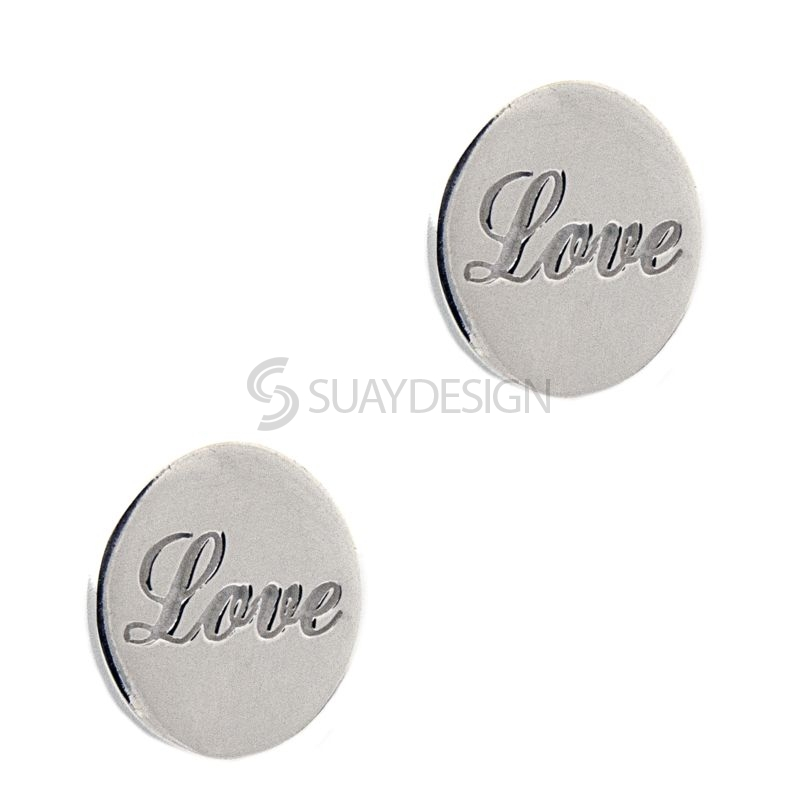Women's Silver Disc Love Earrings