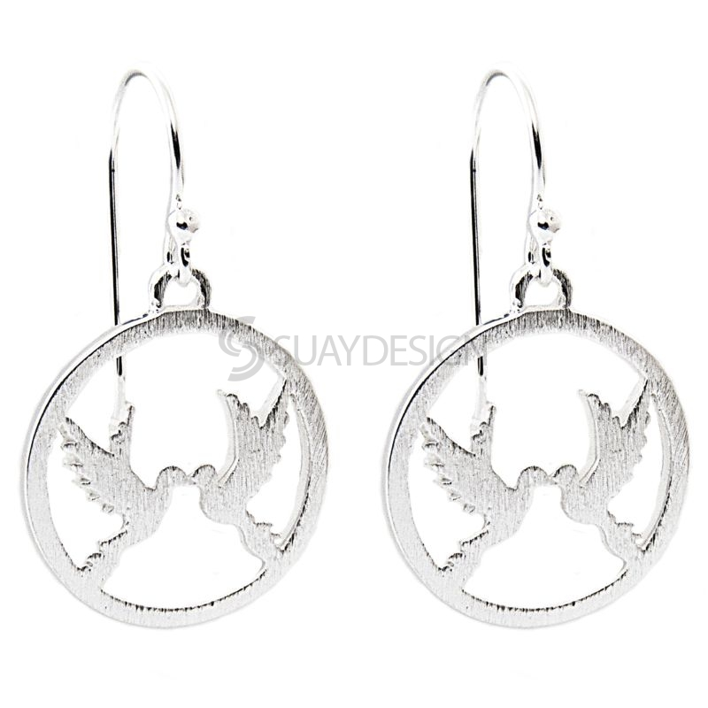 Silver Circular Earrings with Two Doves Design