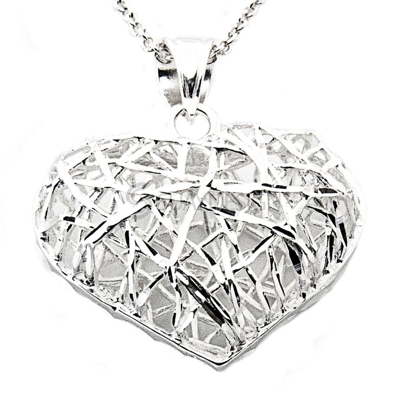 Women's Silver Filigree Heart Necklace