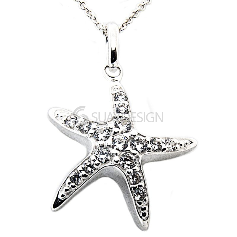 Women's Silver Starfish with Cubic Zirconia Crystal Necklace