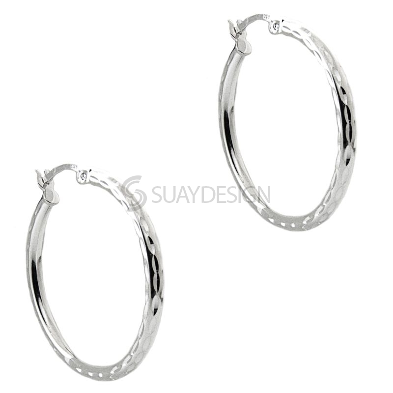 Women's Silver Ripple Effect Hoop Earrings