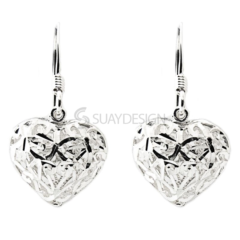 Women's Silver Filigree Heart Drop Earrings