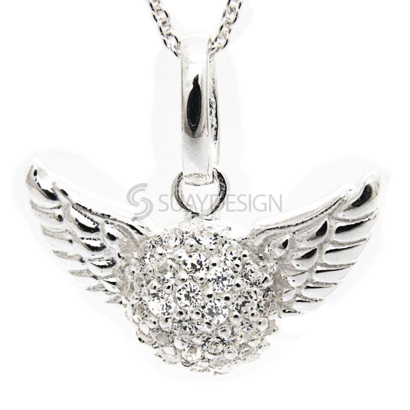 Women's Silver Pavé Cubic Zirconia Crystal Winged Heart Necklace