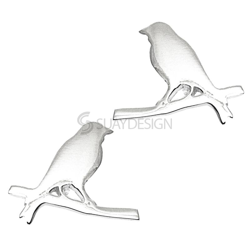 Women's Silver Bird On a Wire Earrings