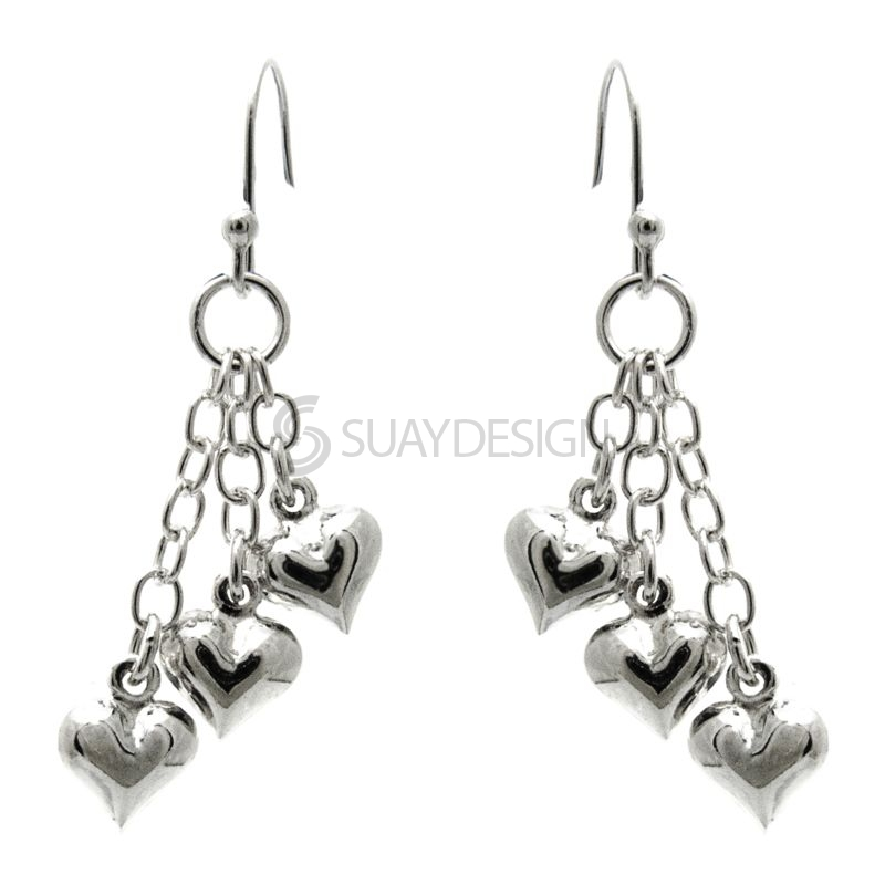 Women's Silver Falling Hearts Drop Earrings