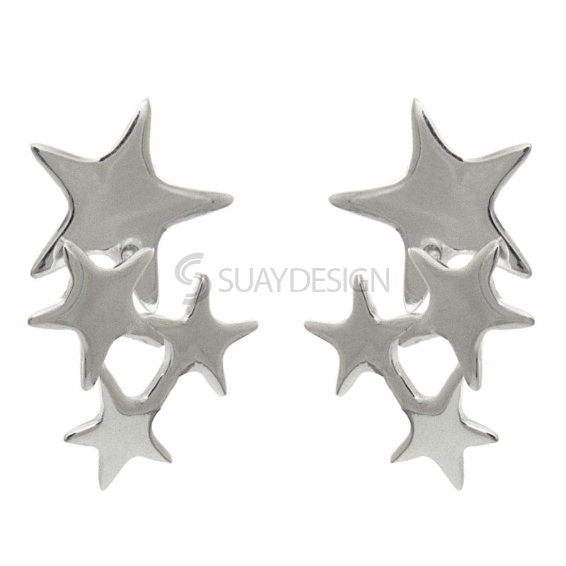 Women's Silver Cluster of Stars Earrings