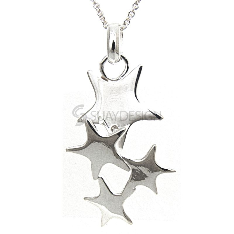 Women's Silver Star Cluster Necklace