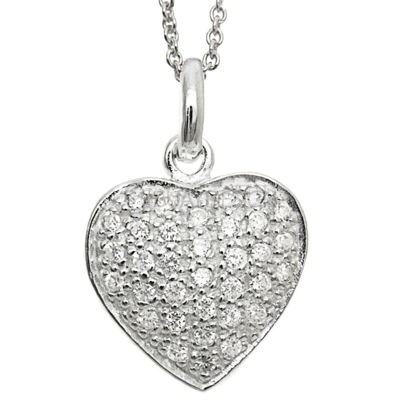 Women's Silver Pavé Cubic Zirconia Crystal Heart Necklace