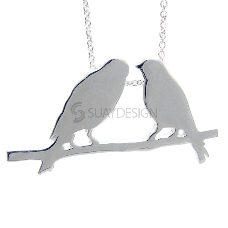 Women's Silver Two Birds Necklace
