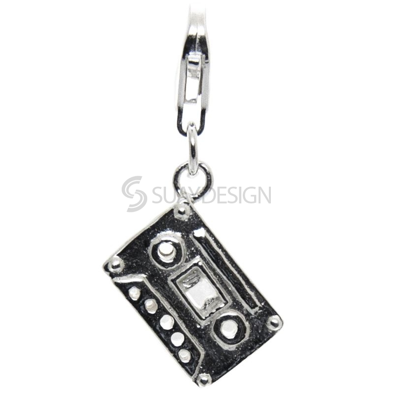 Women's Silver Cassette Tape Clip on Charm
