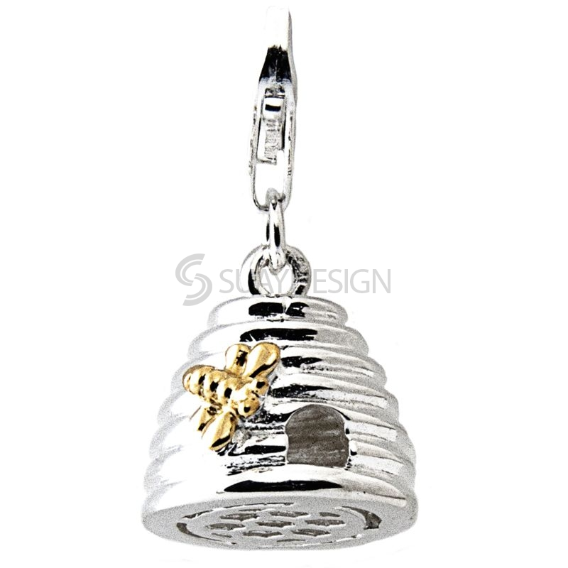 Women's Silver Enamel Bee Hive Clip on Charm