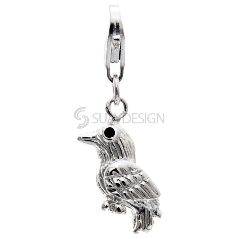 Women's Silver Enamel Woodpecker Bird Clip on Charm