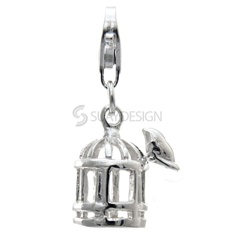 Women's Silver Bird with Birdcage Clip on Charm
