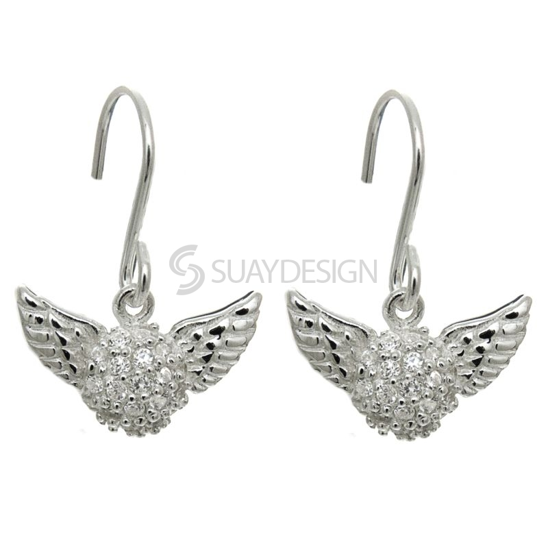 Silver Pavé Cubic Zirconia Crystal Winged Drop Earrings