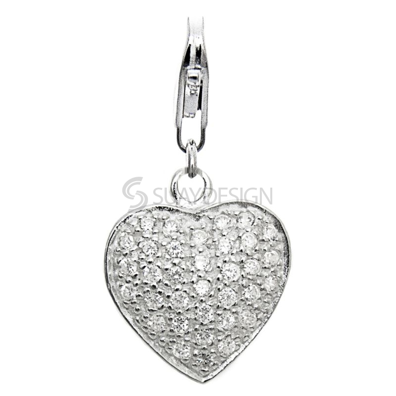 Women's Silver Heart with Cubic Zirconia Crystals Clip on Charm