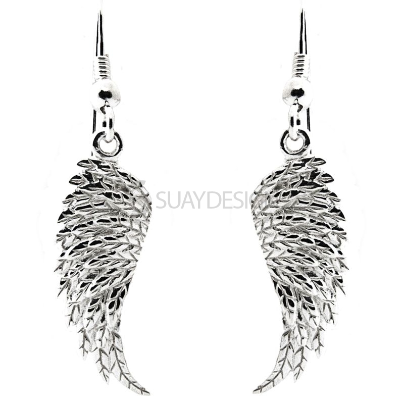 Women's Sterling Silver Angel Wing Drop Earrings