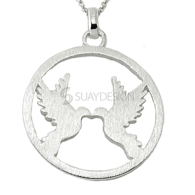 Women's Silver Circular Pendant with Two Doves Design